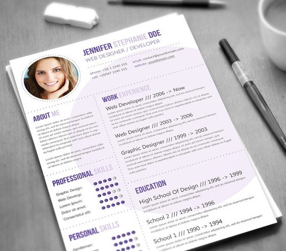modern purple resume